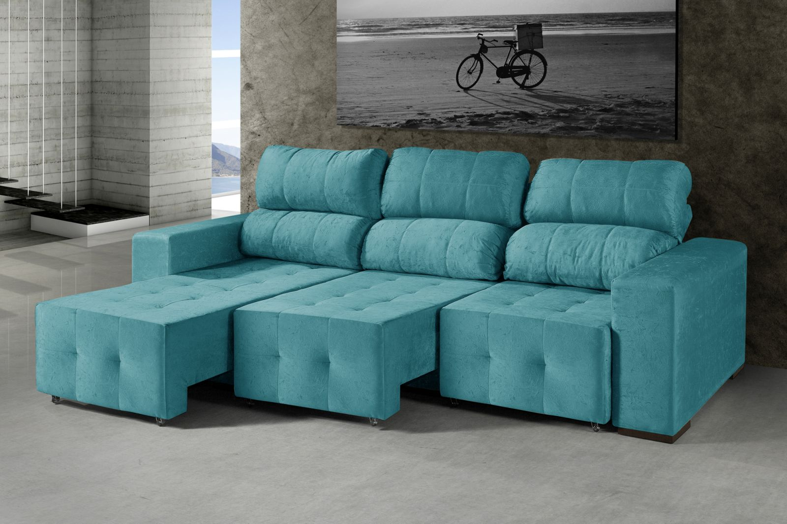 Sof haiti 2 lugares com chaise premium em tecido suede for Sofas com chaise e puff